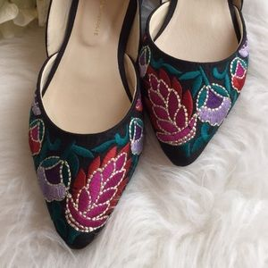 🆕NIB Anthropologie Embroidered Floral Flats
